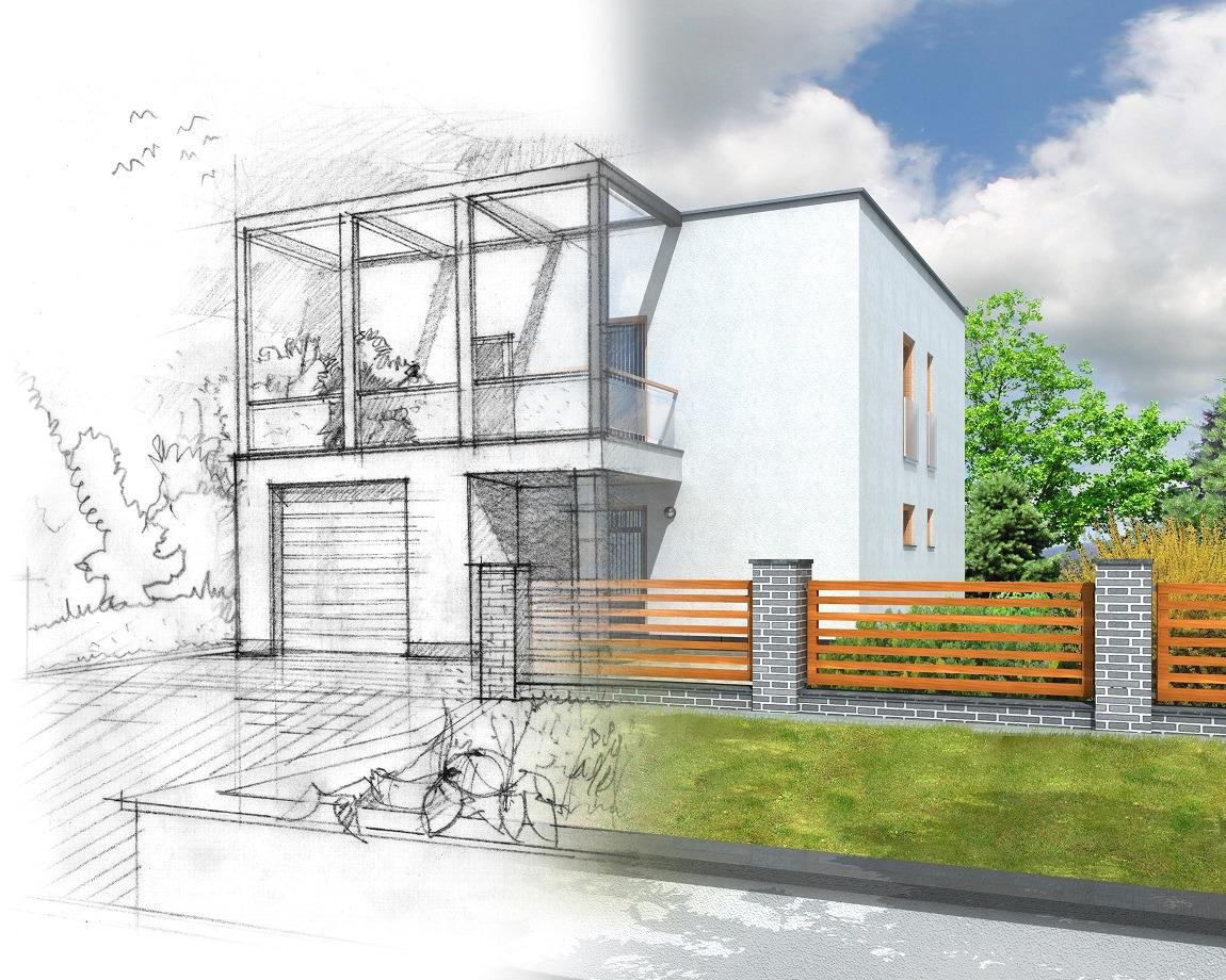 Farbige Skizze eines Einfamilienhauses mit einem Gartenzaun davor