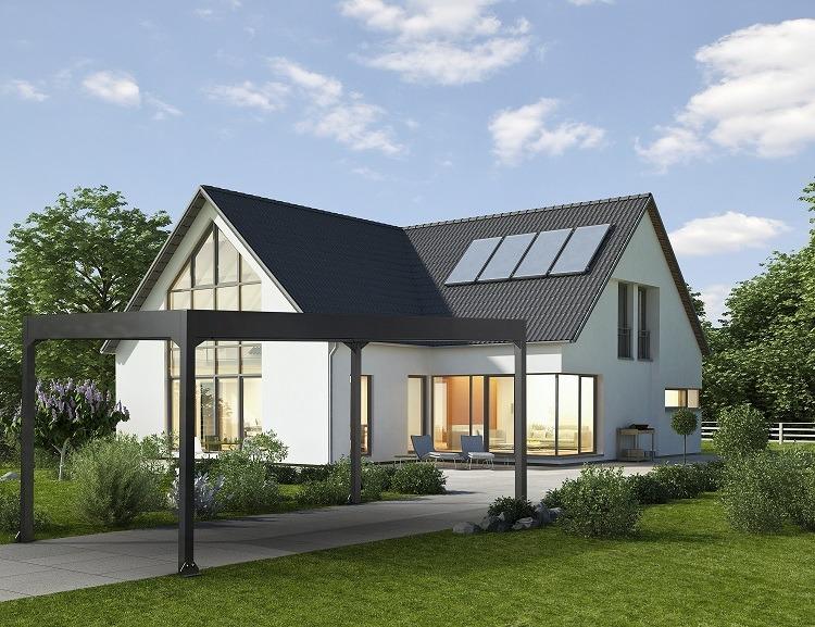 Einfamilienhaus mit einem Carport aus Aluminium in der Einfahrt