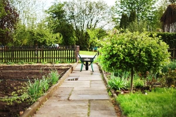 Scheibtruhe steht auf einem Gehweg in einem Garten zwischen zwei Ackern