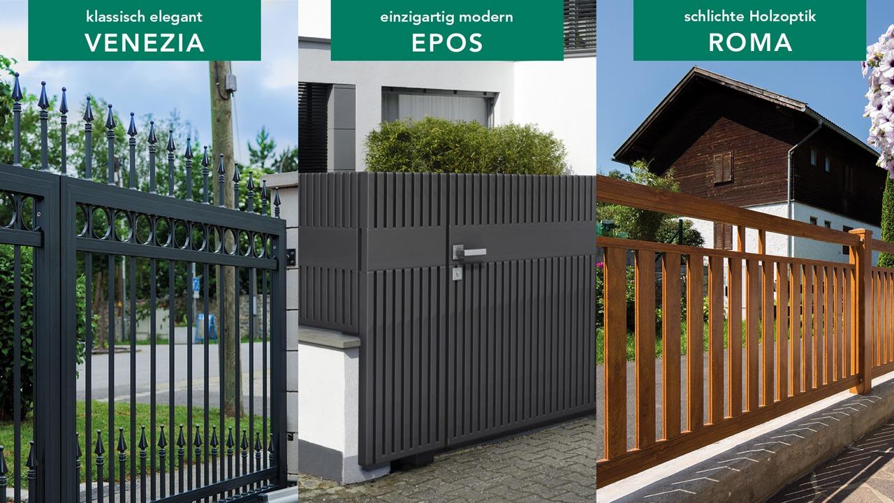 GUARDI Österreich Aluzäune Roma Epos Venezia schlicht holzoptik elegant design Aluminium Zäune