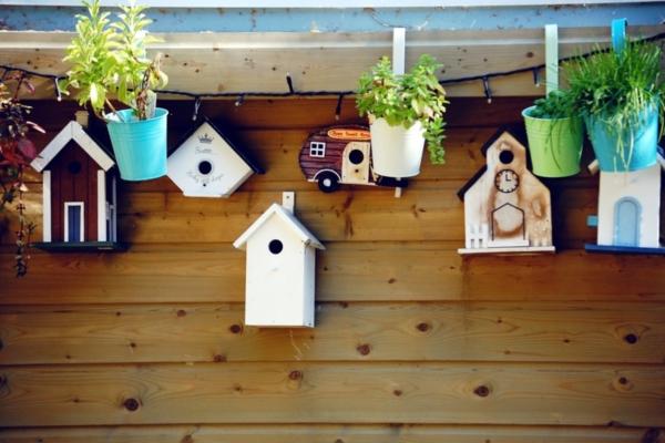 Diverse Vogelhäuschen an einer Holzwand aufgehängt