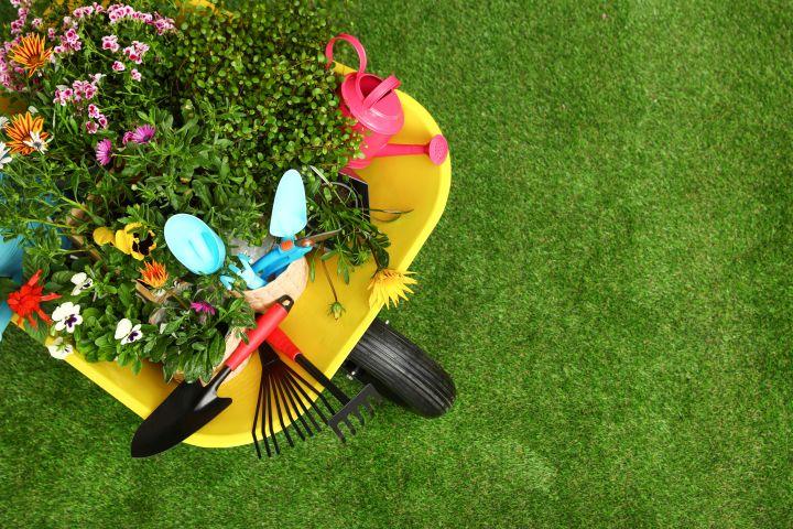 Auf dem Bild ist eine Schubkarre und daraufliegende Gartenutensilien zu sehen.