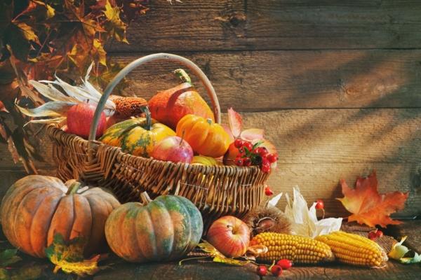 Ein Korb gefüllt mit herbstlicher Ernte wie Kürbist, Mais, oder Äpfel