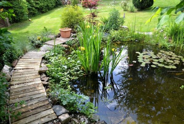 Bild eines Gartenteichs mit einem kleinen Holzweg drumherum