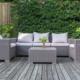 Gartenlounge aus Rattan mit Sitzauflagen in grau