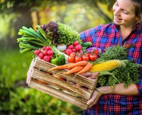 Man erkennt eine Frau, welche eine Kiste voller Gemüse hält