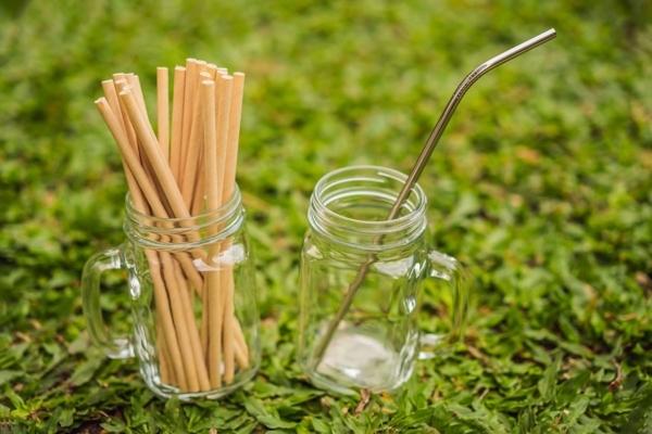Auf einer Wiese stehen zwei Gläser, das eine gefüllt mit Holzstäbchen, das andere mit einem Aluminiumstäbchen