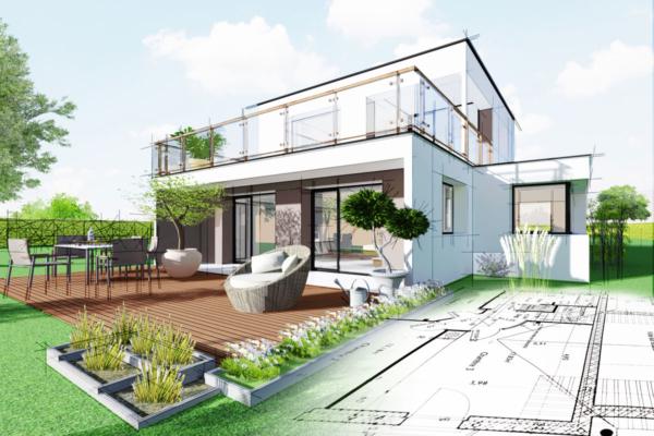 Man sieht eine halbfertige Skizze eines Hauses mit Garten, die der Planung und Gestaltung dienen soll