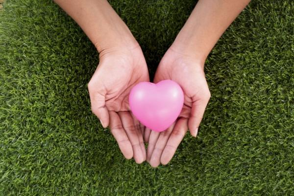 Man erkennt zwei Hände auf einem grünen Rasen. In den Händen befindet sich ein rosa Herz.