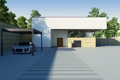 Carport Modell Pantheon in anthrazit steht vor einem quaderförmigen weißen Haus