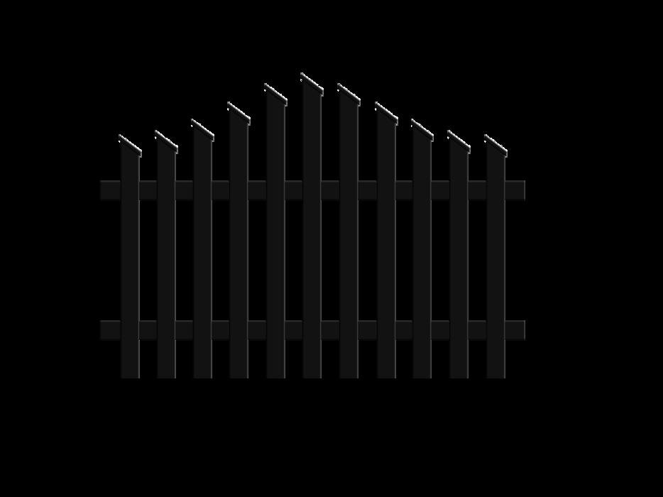 Jägerzaunfeld konvex geschwungen in anthrazit, Modell Treviso, auf weißem Hintergrund