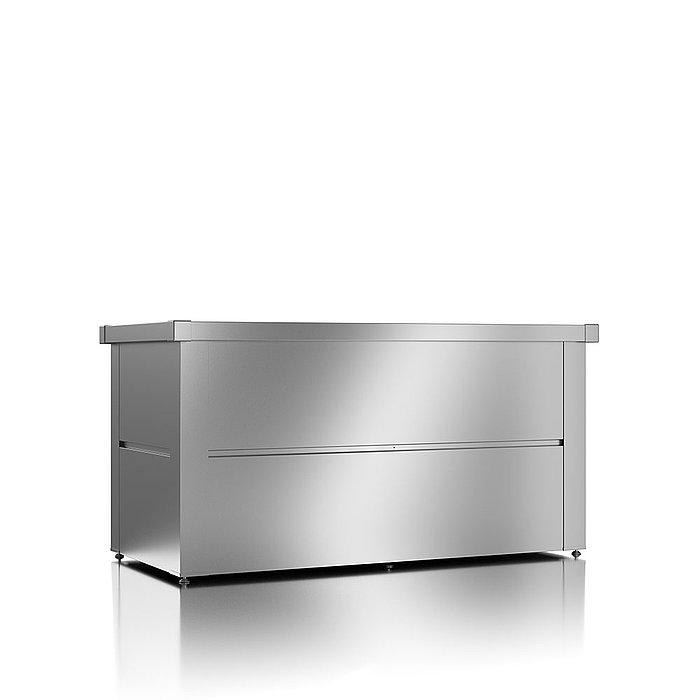 Gartenbox aus Stahl in der Farbe silber metallic und geschlossenem Deckel