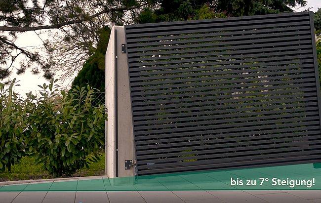 Bild, das verdeutlicht, wie Flügeltore bei Hauseinfahrten mit Steigung angebracht werden können