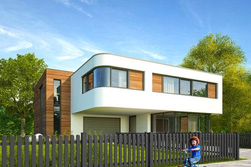 Lattenzaun aus Aluminium in anthrazit mit Rundkappen, Modell Merlin von GUARDI, vor einem modernen, weißen Haus, Kind fährt vor Zaun mit Dreirad