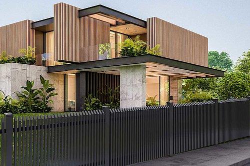 Außergewöhnlicher Lattenzaun aus Aluminium in anthrazit vor einem modernen Holzhaus mit Design