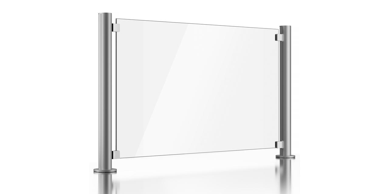 Skizze des Balkongeländers aus Glas ohne integrierten Handlauf