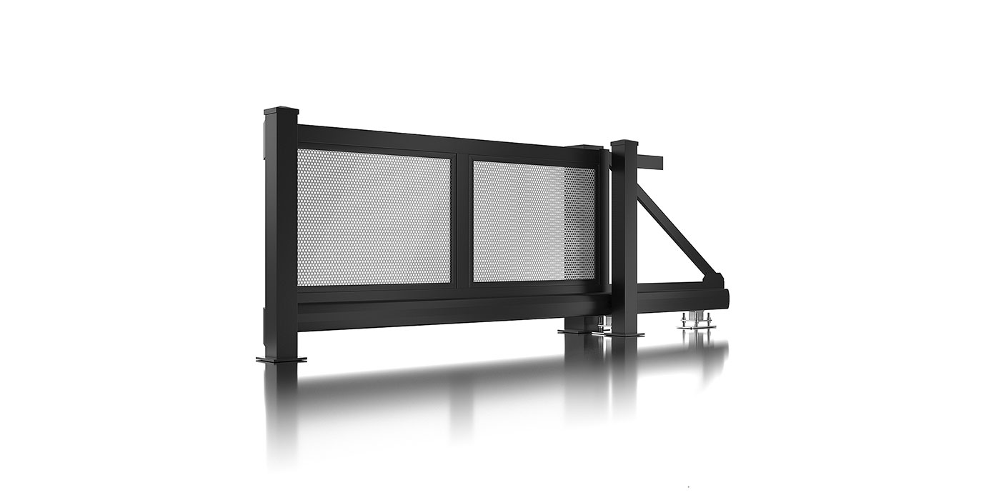 Schiebetor in anthrazit mit grauer Lochblechfüllung, Modell Loos, auf weißem Hintergrund