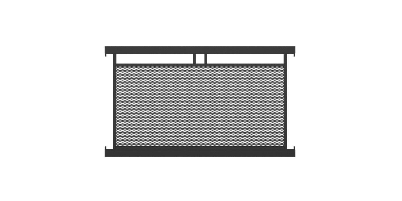 Zaunelement mit Lochblechfüllung einfach in anthrazit, Modell Loskana, auf weißem Hintergrund