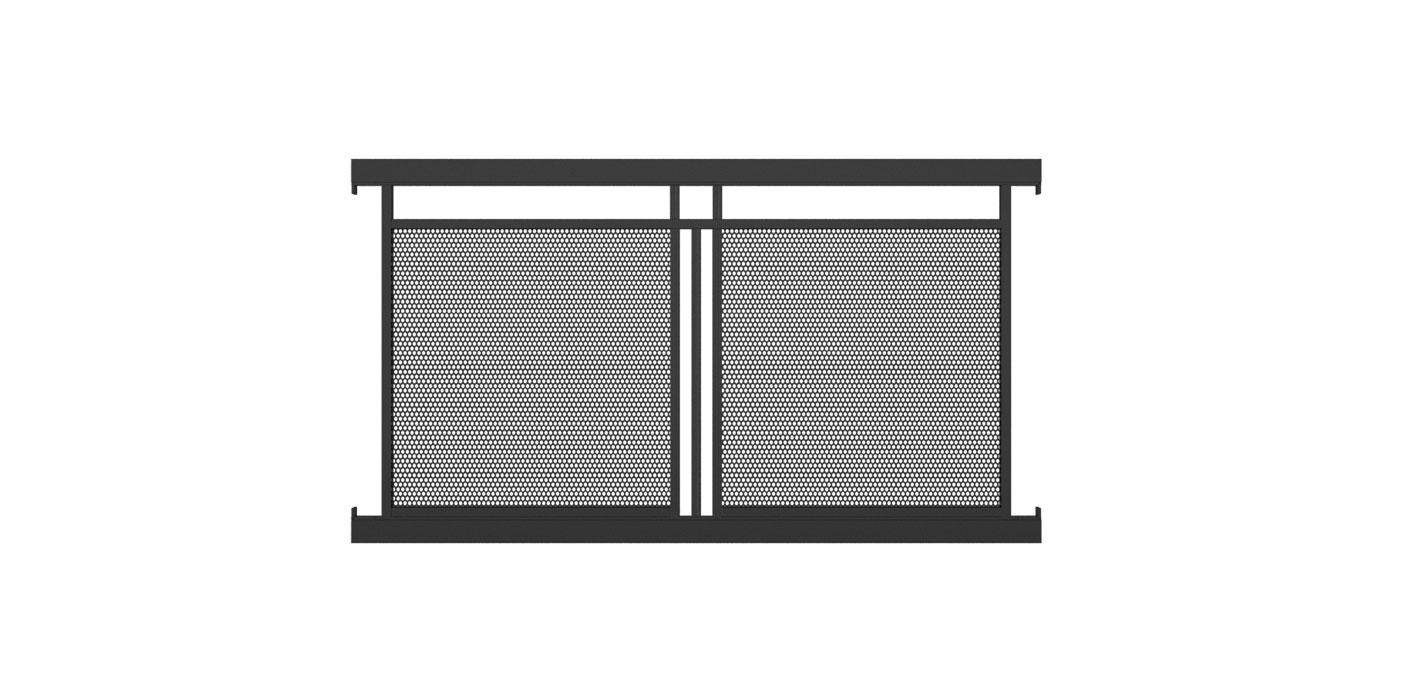 Zaunelement mit Lochblechfüllung zweifach und Dekorstab vertikal in anthrazit, Modell Loskana, auf weißem Hintergrund