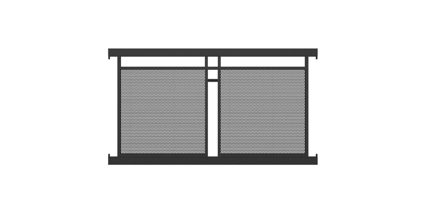 Zaunelement mit Lochblechfüllung zweifach und Dekorstab horizontal in anthrazit, Modell Loskana, auf weißem Hintergrund