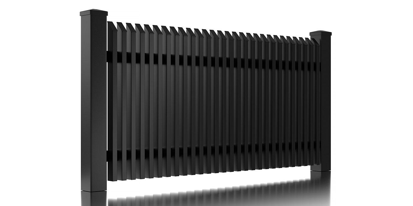 Skizze eines Zaunfelds aus Aluminium mit Schrägkappen