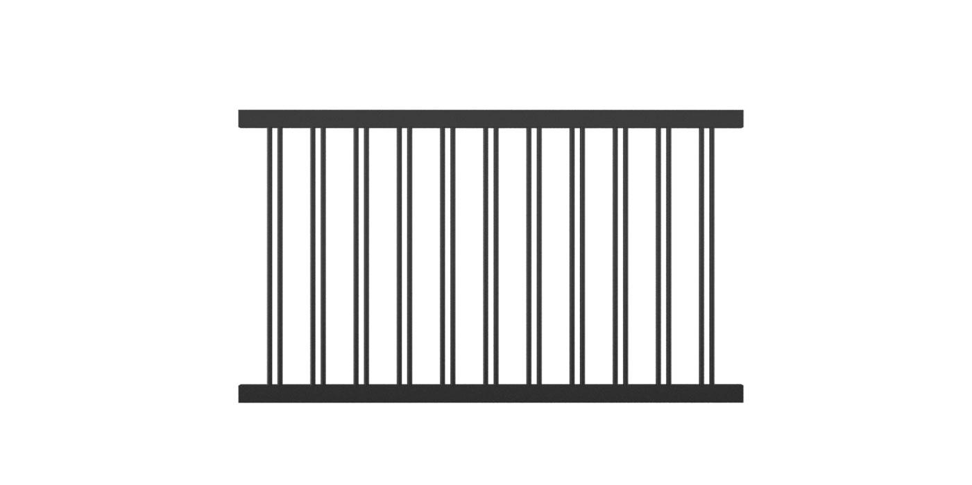 Rundstabzaunfeld mit 2-fach-Stäben mittig in anthrazit, Modell Parma, auf weißem Hintergrund