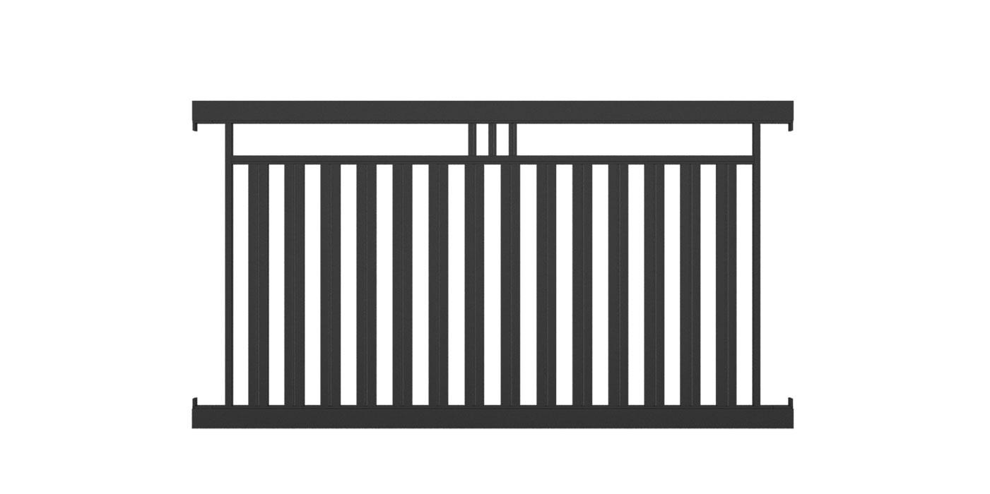Lattenzaunfeld mit 3 Stäben, Lattenabstand 50 mm, Modell Roma, auf weißem Hintergrund