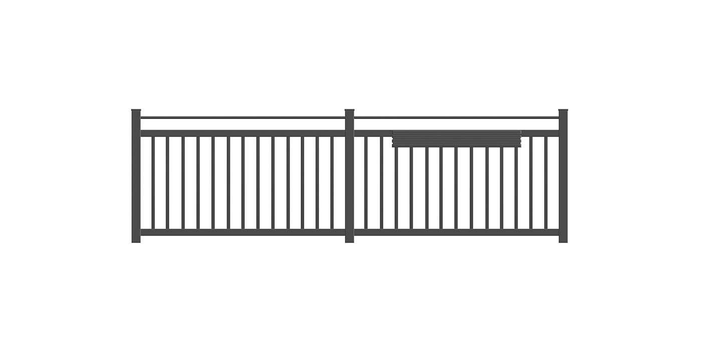 Einzelstab Balkon standard in anthrazit, Modell Siena, auf weißem Hintergrund