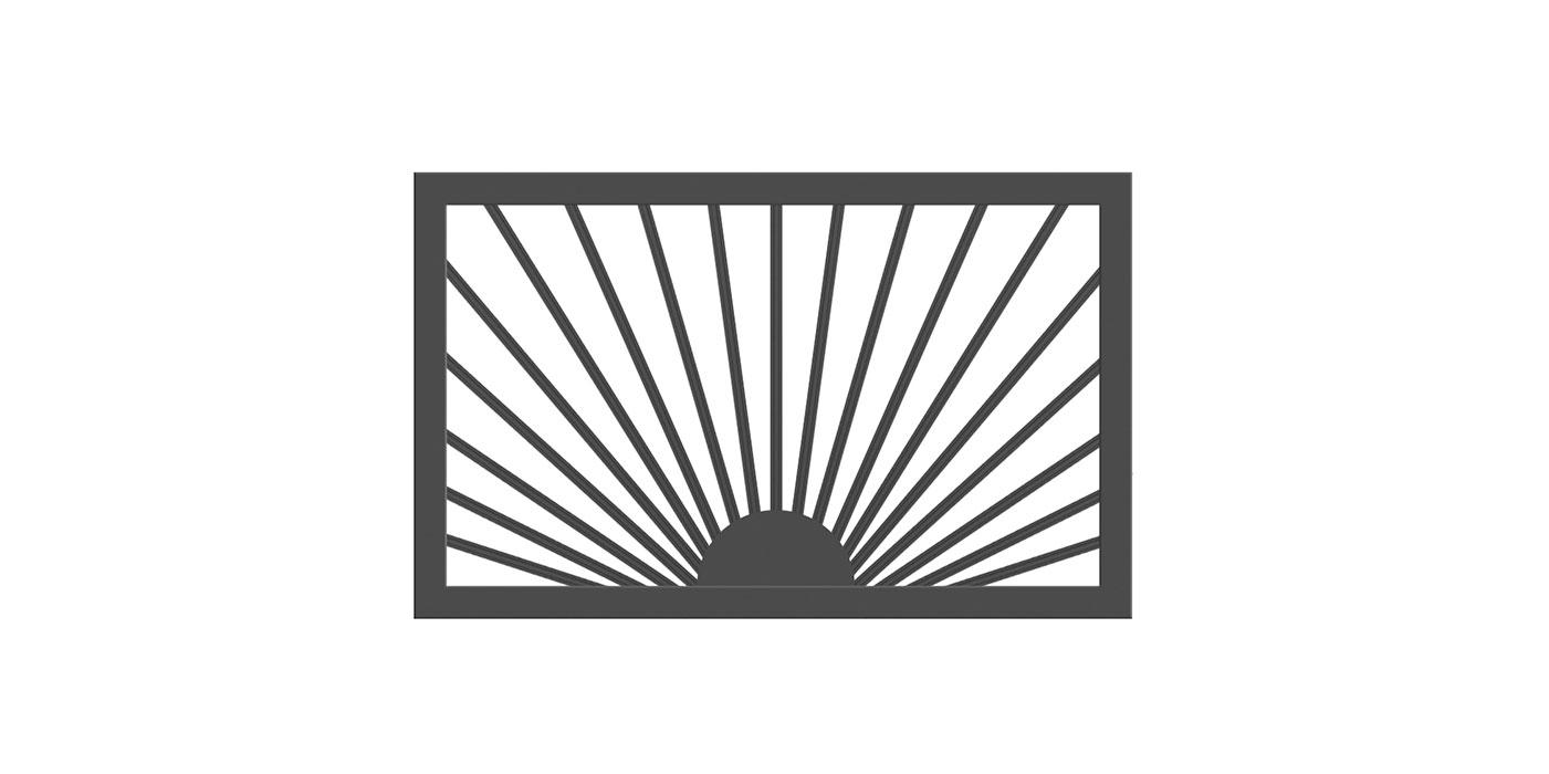 Einzelstab Zweiflügeltor, Ausführungsvariante aufgehende Sonne in anthrazit, Modell Siena, auf weißem Hintergrund