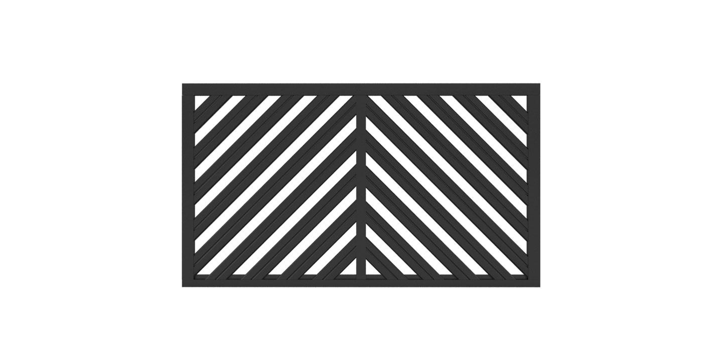 Zaunfeld in anthrazit, Modell Umbria doppelt-diagonal A-Form, auf weißem Hintergrund
