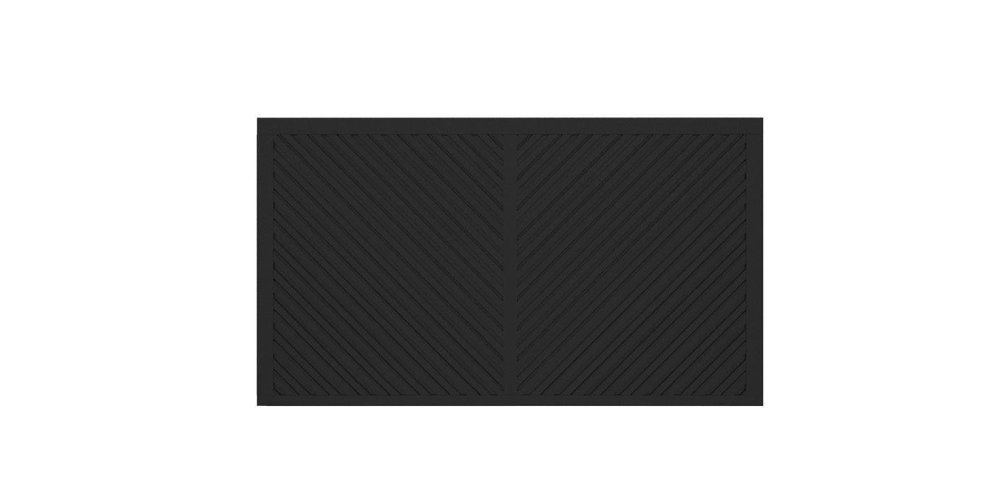 Blickdichtes Zaunfeld in anthrazit, Modell Umbria doppelt-diagonal V-Form, auf weißem Hintergrund