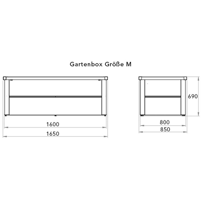 Skizze einer Gartenbox aus Stahl mit Angabe der Außen- und Innenmaße sowie der Höhe
