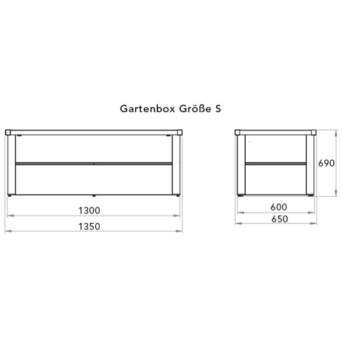 Skizze einer Gartenbox aus Stahl mit Angabe der Außern- und Innenmaße sowie der Höhe
